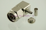 Coax Connector HEX N Male Right Angle Crimp for RG-58 - by W5SWL