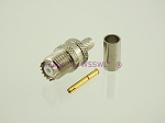 Coax Connector Mini - UHF Female Crimp fits RG-8X LMR240 2-Pk - by W5SWL