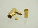 SMA Male Right Angle RG-58 LMR195 Crimp Connector GOLD 2-PACK - by W5SWL