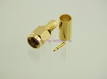 SMA Male Crimp Connector RG-58 LMR195 GOLD - by W5SWL