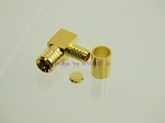SMB Plug Crimp Connector for RG-58 LMR195 RIGHT ANGLE GOLD - by W5SWL