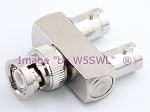 W5SWL Brand Premium Series BNC Male to Double BNC Female TEE or Y Coax Adapter Connector