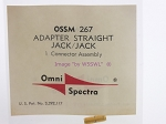 Omni Spectra OSSM 267 Straight Jack to Jack