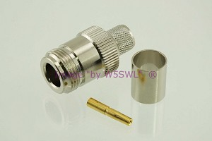 N Female Teflon/Gold Crimp Connector fits LMR400 9913 Coax Cables - by W5SWL
