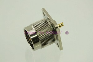 Coax Connector N Male Chassis Bulkhead Connector - by W5SWL