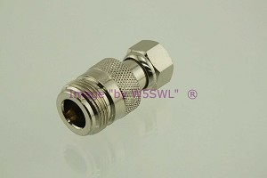 Coax Adapter N Female to Type F Male - by W5SWL