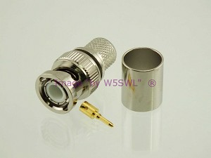 W5SWL Brand Premium Series BNC Male Crimp Coax Connector LMR400 2-Pack