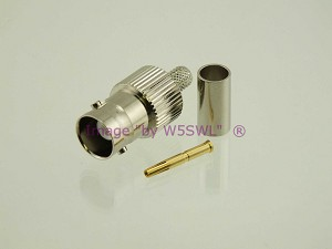 W5SWL Brand Premium Series BNC Female Crimp Coax Connector fits RG-58 2-Pack
