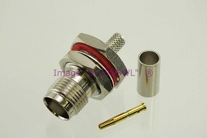TNC Bulkhead Chassis Mount Female Crimp Connector RG-58 LMR195 - by W5SWL