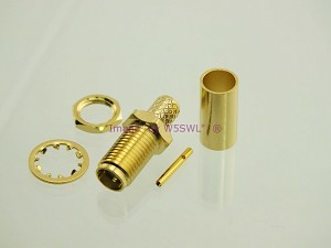 SMA Female Bulkhead Crimp Connector RG-58 LMR195 GOLD - by W5SWL