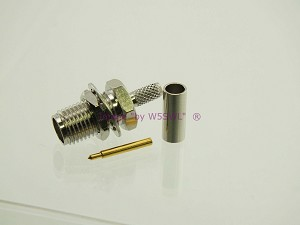 Reverse Polarity SMA Female Bulkhead Crimp Connector RG-174 LMR100 - by W5SWL