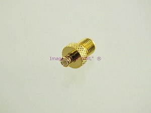 Gold MCX Plug to SMA Female Coax Adapter Connector - by W5SWL