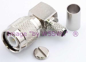 TNC Male Right Angle Crimp Connector LMR240 RG-8X Mini-8 Coax - by W5SWL