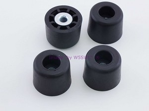 "Set of 4 - Tall Round Rubber Feet .875"" Tall - Steel Bushing"