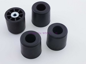 "Set of 4 - Round Rubber Feet 1.375"" Tall - Steel Bushing"