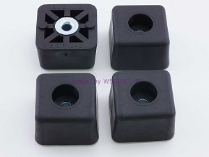 "Set of 4 - Square Rubber Feet .875"" Tall - Steel Bushing"