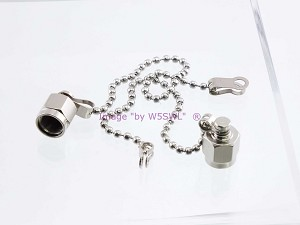 Coax Cap Cover SMA Female Series w/Chain NON-SHORTING Type 2-PACK - by W5SWL